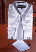 White Satin Dress Shirt