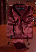 Burgundy Satin Dress Shirt
