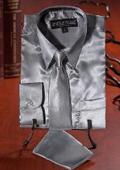 Silver Satin Dress Shirt