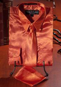 Orange Satin Dress Shirt