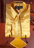 Gold Satin Dress Shirt