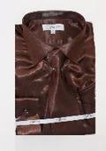 Mens Shiny Brown Shirt