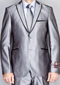 Shiny Gray Sharkskin Suit