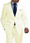 Light Weight 2 Button Tapered Cut Half Lined Flat Front Slim Fit Suit Vented Cream