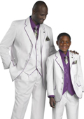 High Quality 2 or 3 Button style 3PC Cream-Purple Suit