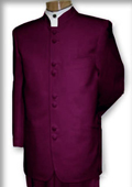 Quality Mandarin Collar Burgundy