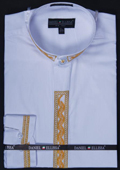 Mens White/Gold Dress Shirt