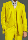 Men's Two Button Vested Shiny Flashy Metallic Yellow Satin Bright Glossy Face Suit