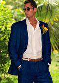 Navy Blue Linen Suit