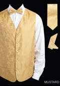 Men's 4 Piece Vest Set (Bow Tie, Neck Tie, Hanky) - Shiny Paisley Jacquard Mustard
