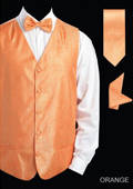 Men's Orange 4 Piece Vest Set