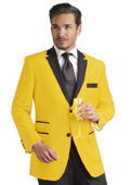 Yellow Two Button Notch Party Suit & Tuxedo & Blazer w/ Black Lapel