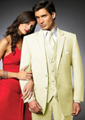 2 Btn Suit/Colored Tuxedo Satin Trim outlines a Notch Lapel Matching Trousers Cream