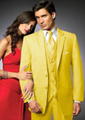 2 Btn Suit/Colored Tuxedo Satin Trim outlines a Notch Lapel Matching Trousers Yellow