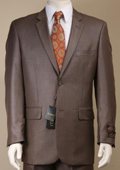 Men's Shiny Sharkskin Brown Suit