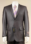 Men's Shiny Sharkskin Charcoal Suit