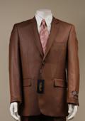 Men's Shiny Sharkskin Rust Suit