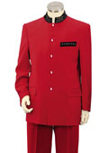 Mens Red Nehru Suit