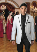 Mens White Black Suit