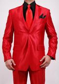 Men's Shiny Sharkskin Red Suit