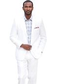 Mens Linen White Suit
