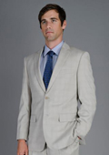 Bone Windowpane 2-Button Suit