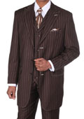 Mens Brown Pinstripe Suit