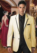 Two Button Colored Tuxedo or Formal Suit & Blazer with Black Edge Trim Cream