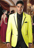 Two Button Colored Tuxedo or Formal Suit & Blazer with Black Edge Trim Yellow