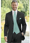 Pinstriped Tuxedo Suit Black