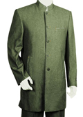 SKU#TH3478 Mens Denim Fabric 5 Button Fashionable Olive Zoot Suit $175
