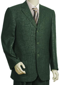 SKU#BG7457 Men's Denim Fabric High Fashion 3 Button Olive Zoot Suit $175
