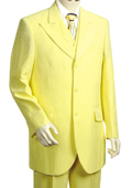 Men's 3 Piece Vested Yellow Fashion Zoot Suit