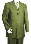 SKU#BN3402 Men's Denim Fabric 3 Piece Vested Olive Zoot Suit $175