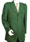 SKU#LF7392 Mens Denim Fabric High Fashion Olive Zoot Suit $175