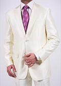 Men's Shiny Off-white Suit
