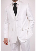Men's Shiny White Two-piece Suit