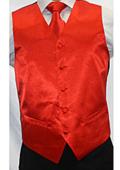 Men's Shiny Red Microfiber 3-piece Suit