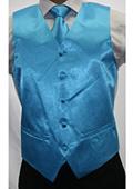 Men's Shiny turquoise Microfiber 3-piece Suit