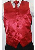 Men's Shiny Burgundy Microfiber 3-piece Suit