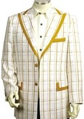 Men's Exclusive White Mustard Pinstripe Fashion Zoot Suit Mustard