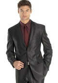 Shiny sharkskin Black Single Breasted Suit