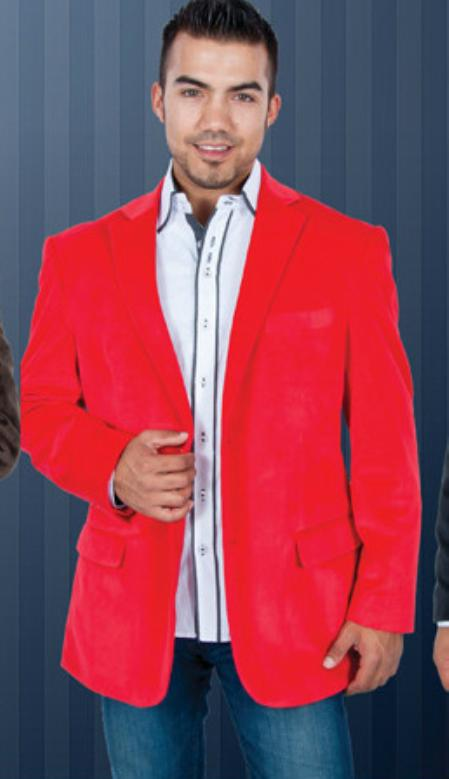 SKU#YT6367 Red Velvet Blazer Jackets for Men $199