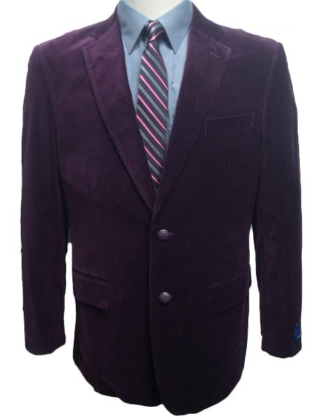 SKU#GBM4399 Mens 2 Button Dark Burgundy ~ Maroon ~ Wine Color~Plum~Eggplant Velvet Blazer $99