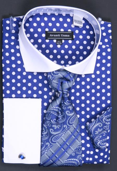 100 Cotton French Cuff Dress Shirt Tie Hanky And Cuff