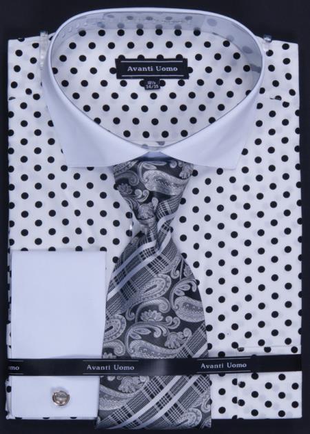 100 Cotton French Cuff Dress Shirt Tie Hanky Cuff