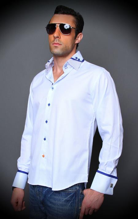 Mens Purple Cotton Shirt With Double Collar French Cuff