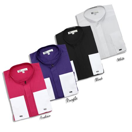 Fashion hidden button french cuff darin collar dress shirt for Pin collar shirt double cuff