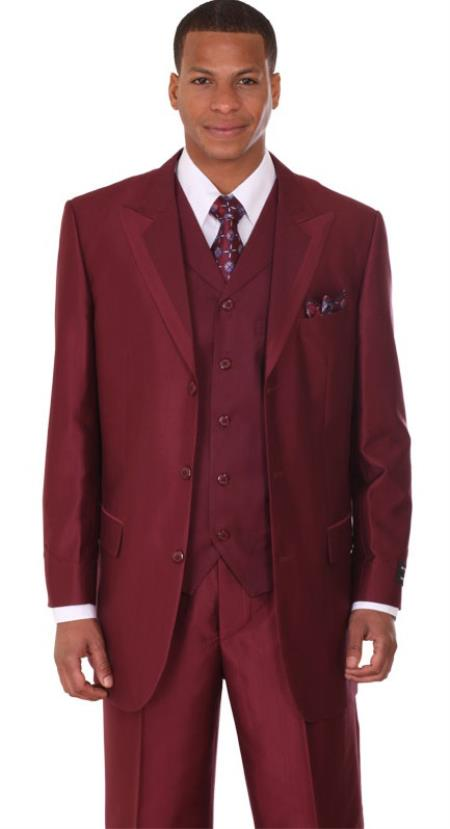 SKU#VH9802 Mens Burgundy ~ Maroon ~ Wine Color Vested Sharkskin Fashion suit: discount mens clothes for sale $149