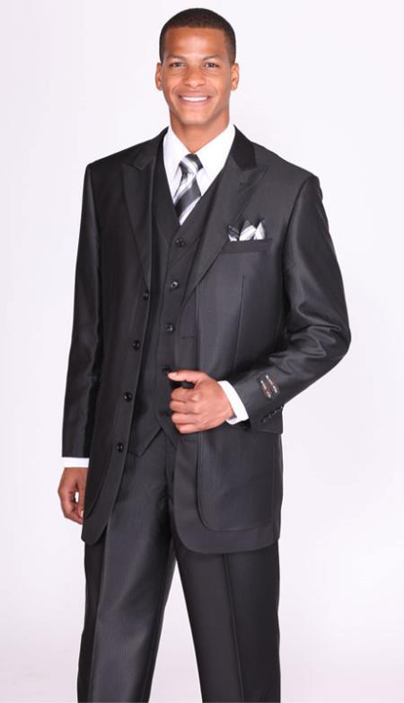 Mens Black Lapel 3 Piece Church Suits